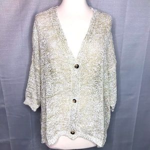 RAGA Beige Metallic Oversize Cardigan Medium